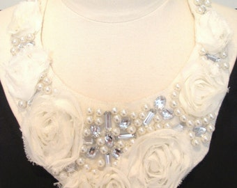Statement necklace-bridal necklace- wedding necklace- white bib necklace- ribbon bow necklace- pearls rhinestone necklace-Fairytale Necklace
