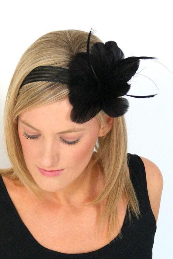 Black flower fascinator Melbourne cup hair piece ribbon feathers- FANCY DRESS HAIR PIECE