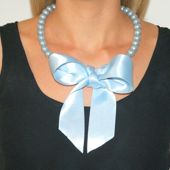 Statement necklace pearl necklace pastel blue necklace ribbon bow necklace bib necklace beaded baby blue pearls large bow -Alice Necklacce