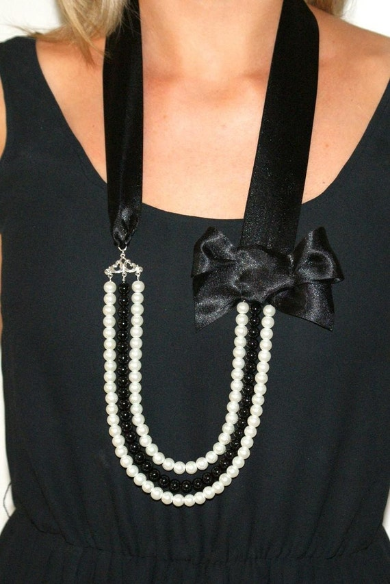 Pearl necklace long statement necklace black and white pearl and bow necklace long pearl necklace black and white-Ooh La La Necklace