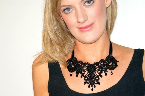 Black lace necklace statement necklace beaded bib ribbon necklace bridesmaids necklaces beaded lace -Evening Serenade Necklace