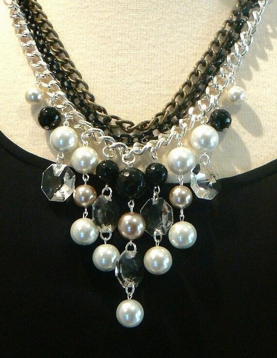 Bib necklace bubble statement necklace pearl and crystal necklace black and white mixed chains evening necklace-Belle Lumiere Necklace