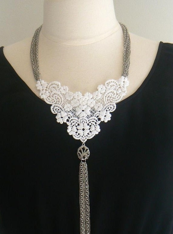 Lace necklace silver locket necklace silver chain necklace statement necklace lace and chain-Jet'aime Necklace