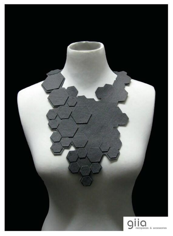 WIEN Hex Bib Statement Necklace in Grey