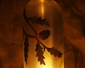 Rustic Decor Pine Bough on Brown  Recycled Wine Bottle Tealight Candle Holder