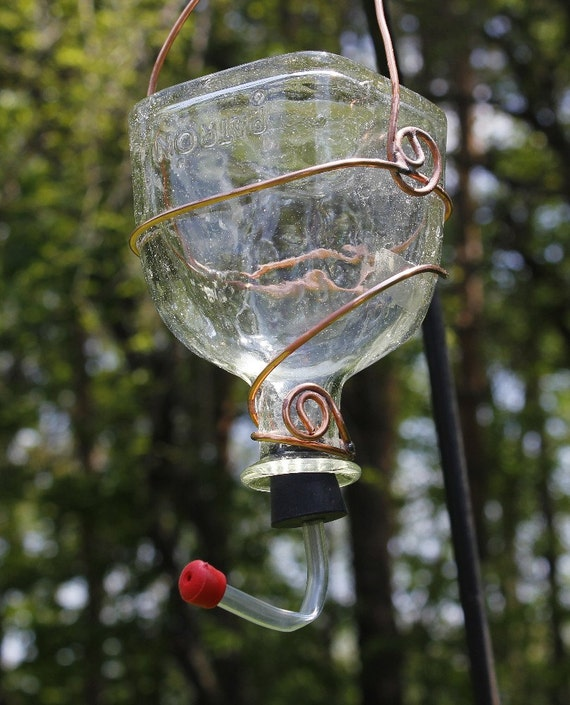 Recycled Bottle Hummingbird Feeder Patron Bottle With Copper