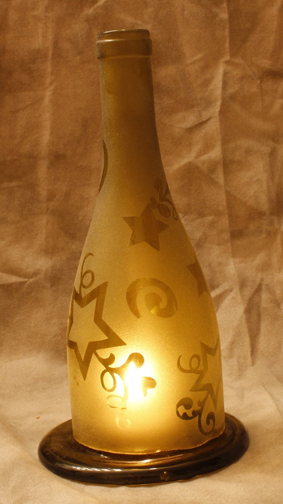 Holiday sale yellow star recycled wine bottle by deeluxdesigns for How to make candle holders out of wine bottles