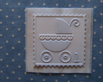 Baby Carriage Book Label - Embossed Pram or Baby Carriage Decor Embellishment