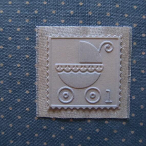 Baby Album Book Label - Embossed Pram or Baby Carriage Decor Embellishment