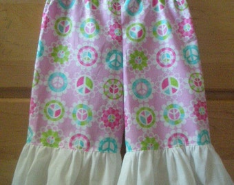 childs peace sign wide leg ruffle capris ready to ship size 24m-2t