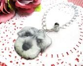 Grey Miniature Schnauzer Puppy Dog Bag Chain Bag Accessory - A0015-G Sch