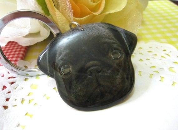 Black Pug dog head keychain /  black pug / pug keychain / keyring / black dog / pug lover / pug accessories / pug lover / dog / A015-K-D23