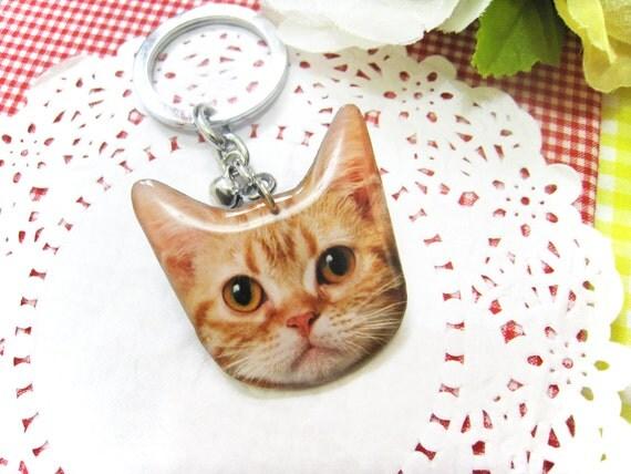 Orange Cat head keychain - A0015-K C7 Made to Order