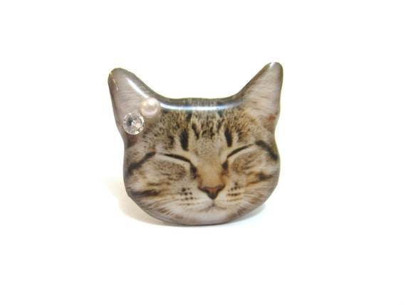 Cute sleeping Cat Kitten head ring - A0010-R C18