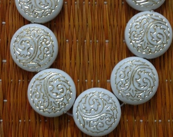 15pc of White Round Flat Plastic Bead String