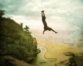 Flying - Art Print 8x10.  Lake Michigan Photography, sand dunes, michigan, tree swing, hues of gold, green pinks and blues.