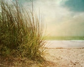 Landscape photography. Beach Dreams I - Art Print.  Beach art, beach photography, beach grass, warm blues and greens.