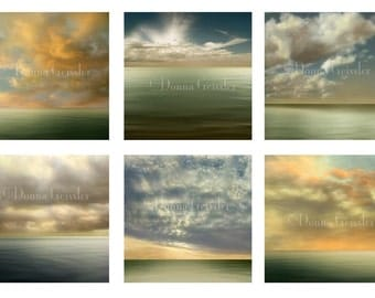 My Earth Art Prints - Six 12x12 Prints.  Serene clouds and water for home decor. Flowing sea green water against dramatic heavenly sky.