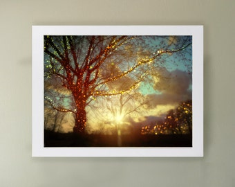 Sweet Dreams Art Print.  Sparkling tree silhouette with a festive sunset.  Landscape photography.