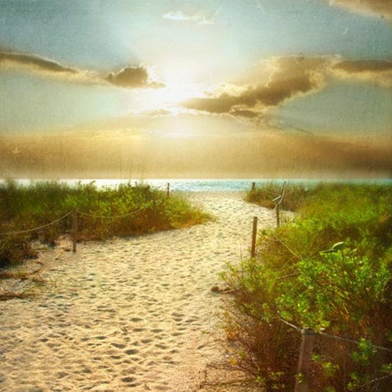 Beach Dreams VI - Art Print 8x8.  Beach photography, path to beach, cloud photography, beach grass, landscape, beach art.