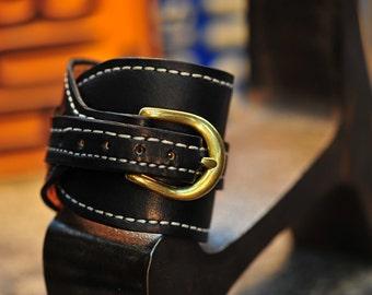 XL Leather Black Gunfighters cuff