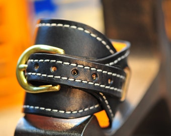 Large Leather Black Gunfighters cuff