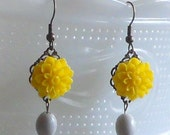 SALE--Yellow Flower Earrings