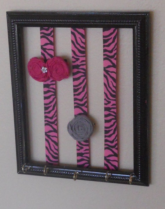 SALE--Vintage Framed Bow/Clip Holder