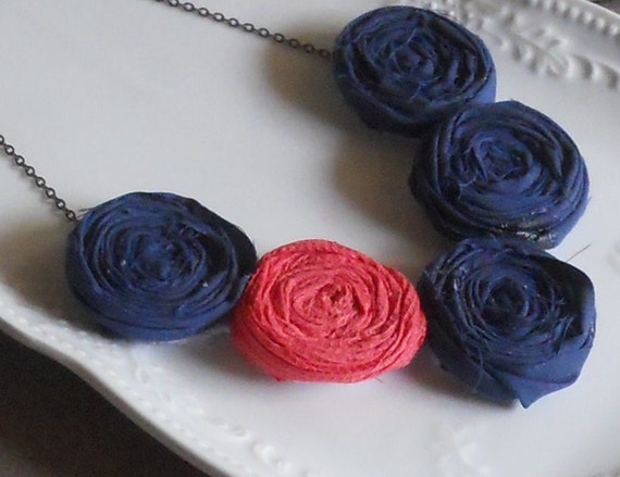 SALE--Navy and Coral Rosette Bib Necklace