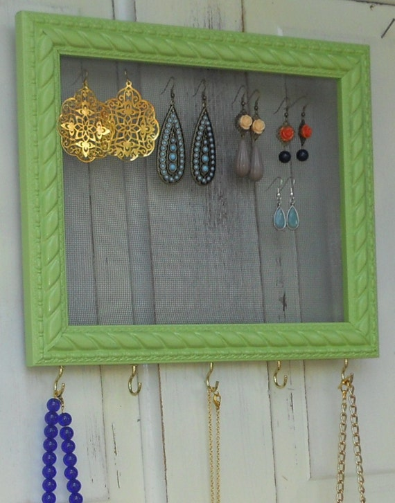 Framed Jewelry Holder--Light Green, Shabby Chic