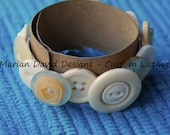 Custom Listing - Vintage Button Bracelet - Cream and White.
