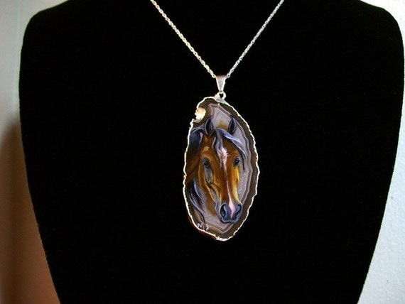 Arabian Horse Handpainted Sterling Silver Necklace  Agate Jewelry Pendant