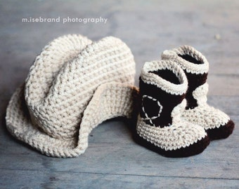 The Western  Set- Cowboy Baby Booties and Plain Hat