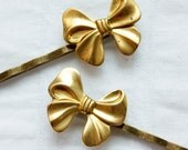 sweet lil bow - brass bow hair pin SET