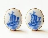 hello sailor . vintage nautical cameo post stud earrings.