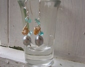 Apatite and CFW Pearls  Sterling Earrings