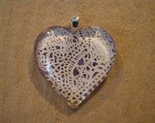 30% OFF Lavender and Ivory Paper Lace Domed Glass Heart Pendant