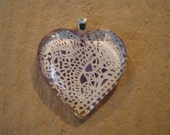 30% OFF Lavender and Ivory Paper Lace Domed Glass Heart Pendant Mother's Day Gift