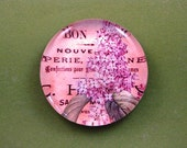 Lavender Lilac Floral Mini Round Glass Paperweight Home Decor