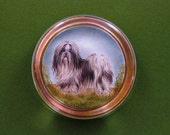 Shih Tzu Dog Portrait Round Crystal Paperweight Dog Lover