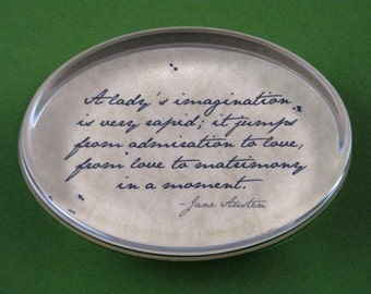 "Jane Austen Regency ""Pride and Prejudice"" Literary Quotation Oval Glass Paperweight - Lady's Imagination"