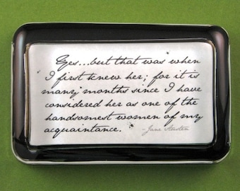 "Jane Austen ""Pride and Prejudice"" Quotation Rectangle Glass Paperweight - Handsomest Women"