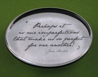 "Jane Austen Regency ""Emma"" Quotation Oval Glass Paperweight Home Decor - Imperfections"