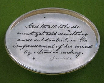 """Jane Austen Regency """"Pride and Prejudice"""" Mr. Darcy Quotation Oval Glass Paperweight - Extensive Reading"""