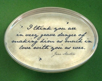 "Jane Austen ""Pride and Prejudice"" Quotation Oval Glass Paperweight - In Love"