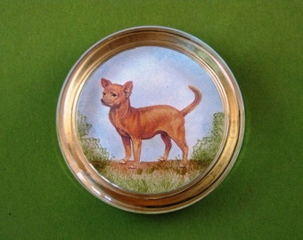 Chihuahua Dog Lover Round Crystal Paperweight Home Decor Dog Portrait
