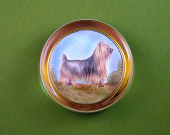 Silky Terrier Dog Portrait Round Crystal Paperweight