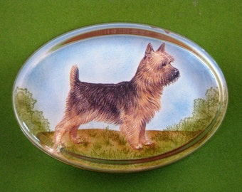 Australian Terrier Dog Portrait Oval Glass Paperweight