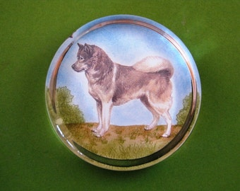 Siberian Husky Dog Portrait Large Round Glass Paperweight Home Decor