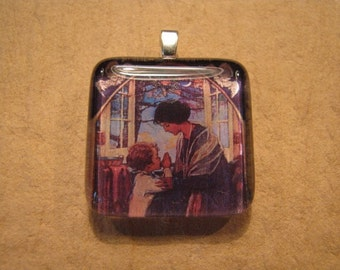 "30% OFF Jessie Willcox Smith ""Praying Child"" Square Glass Pendant"